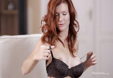 Big tits red head masturbating