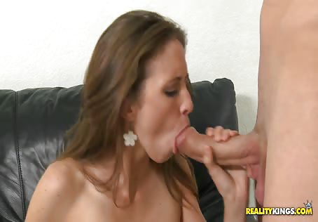Small Tit Brunette Giving Head