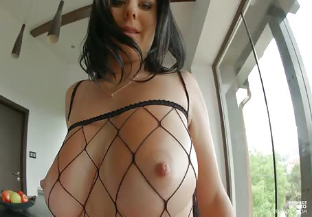 Oiled Big Natural Titties In A Fishnet